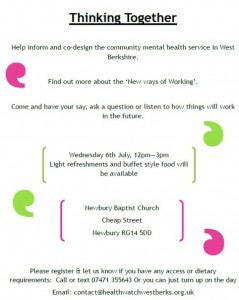 Thinking Together - Mental Health, Have YOUR say @ Newbury Baptist Church | Newbury | United Kingdom