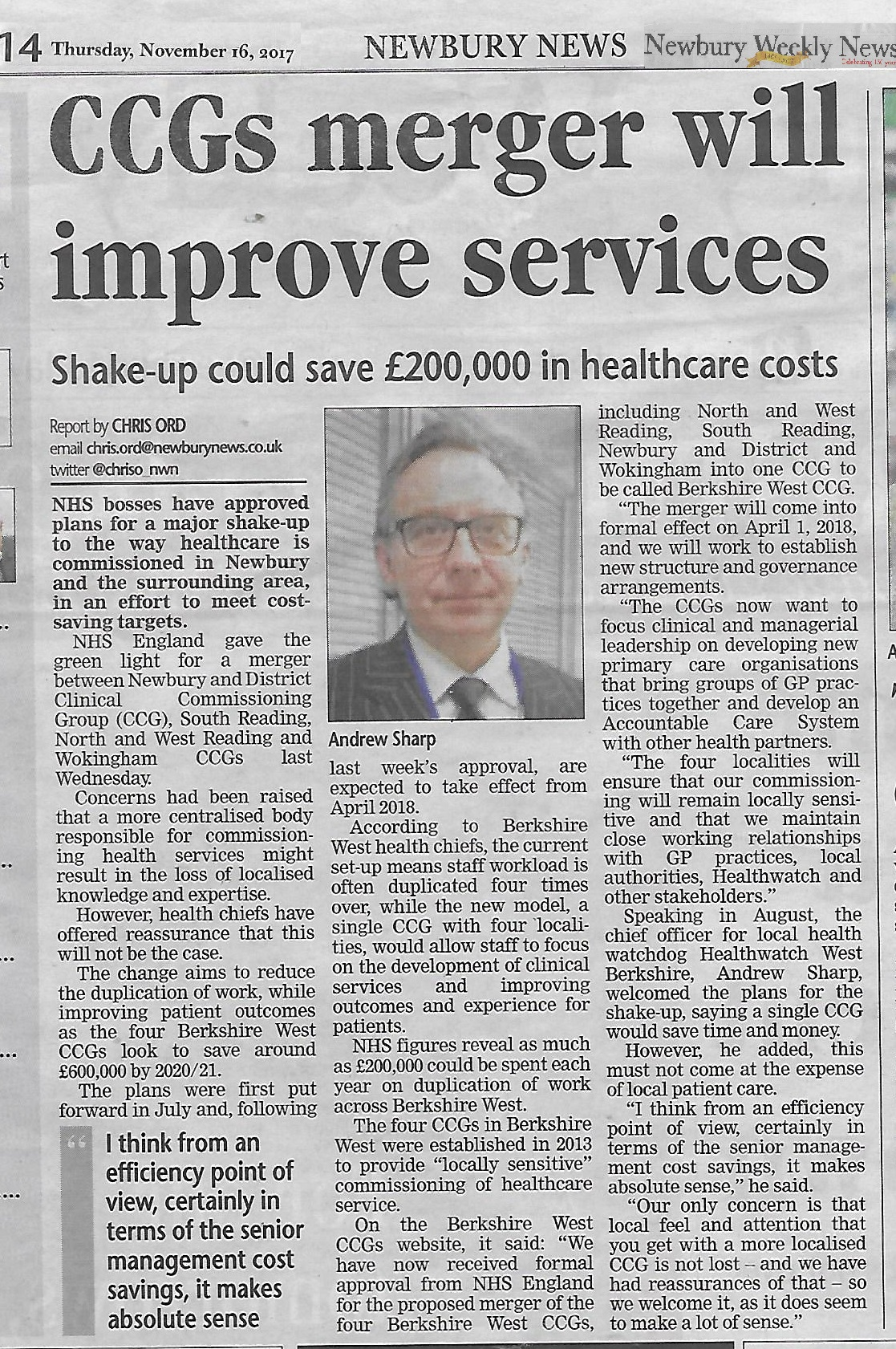 CCG merger shake up improve services