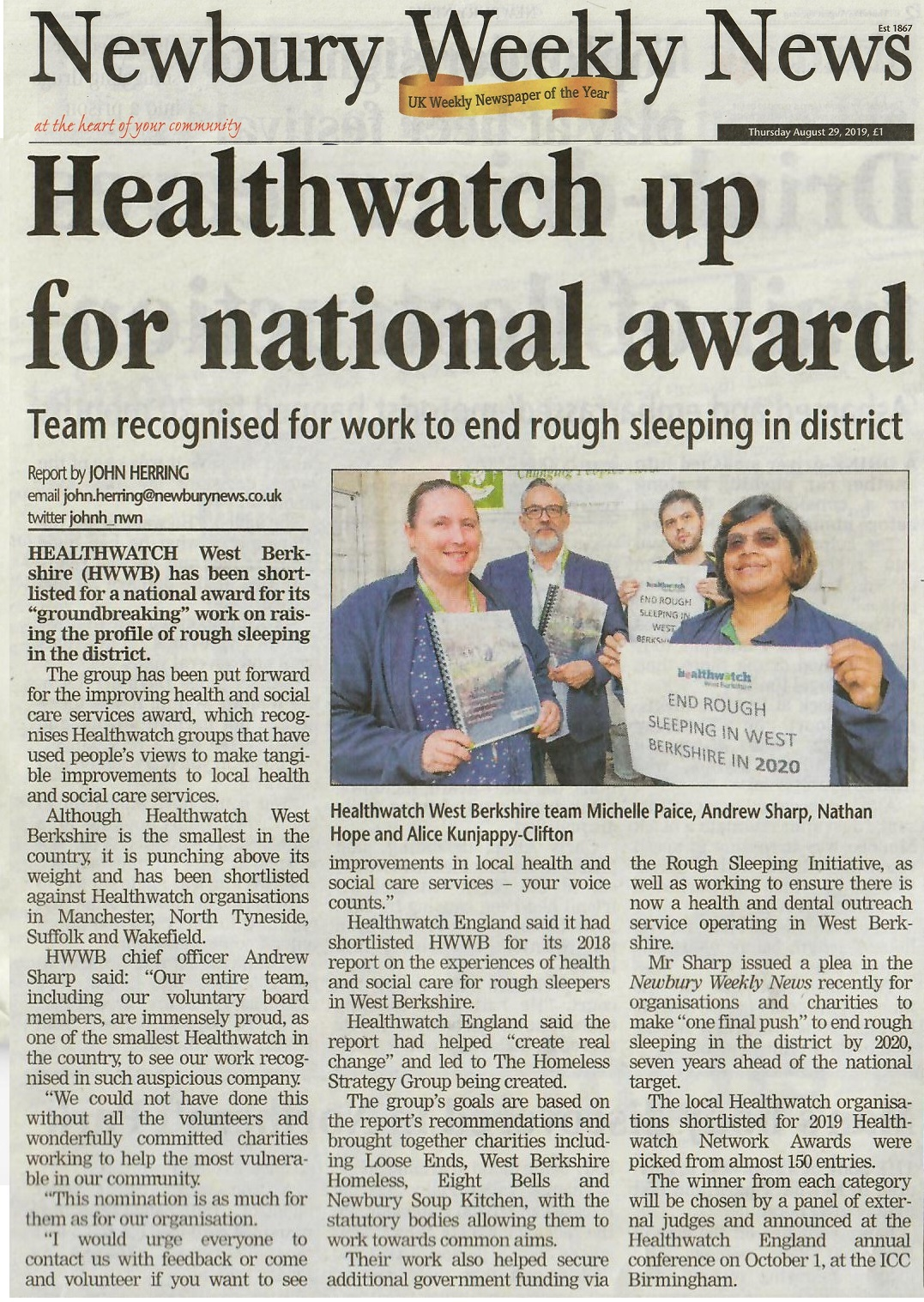 Healthwatch England West Berkshire award homeless rough sleeping