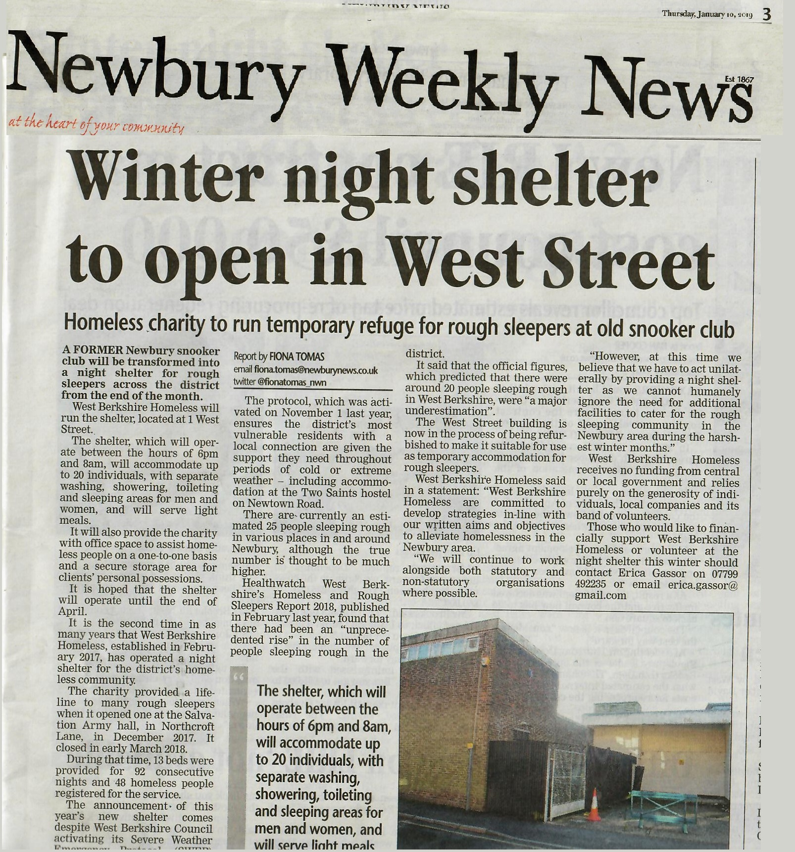 Winter Night Shelter West Street