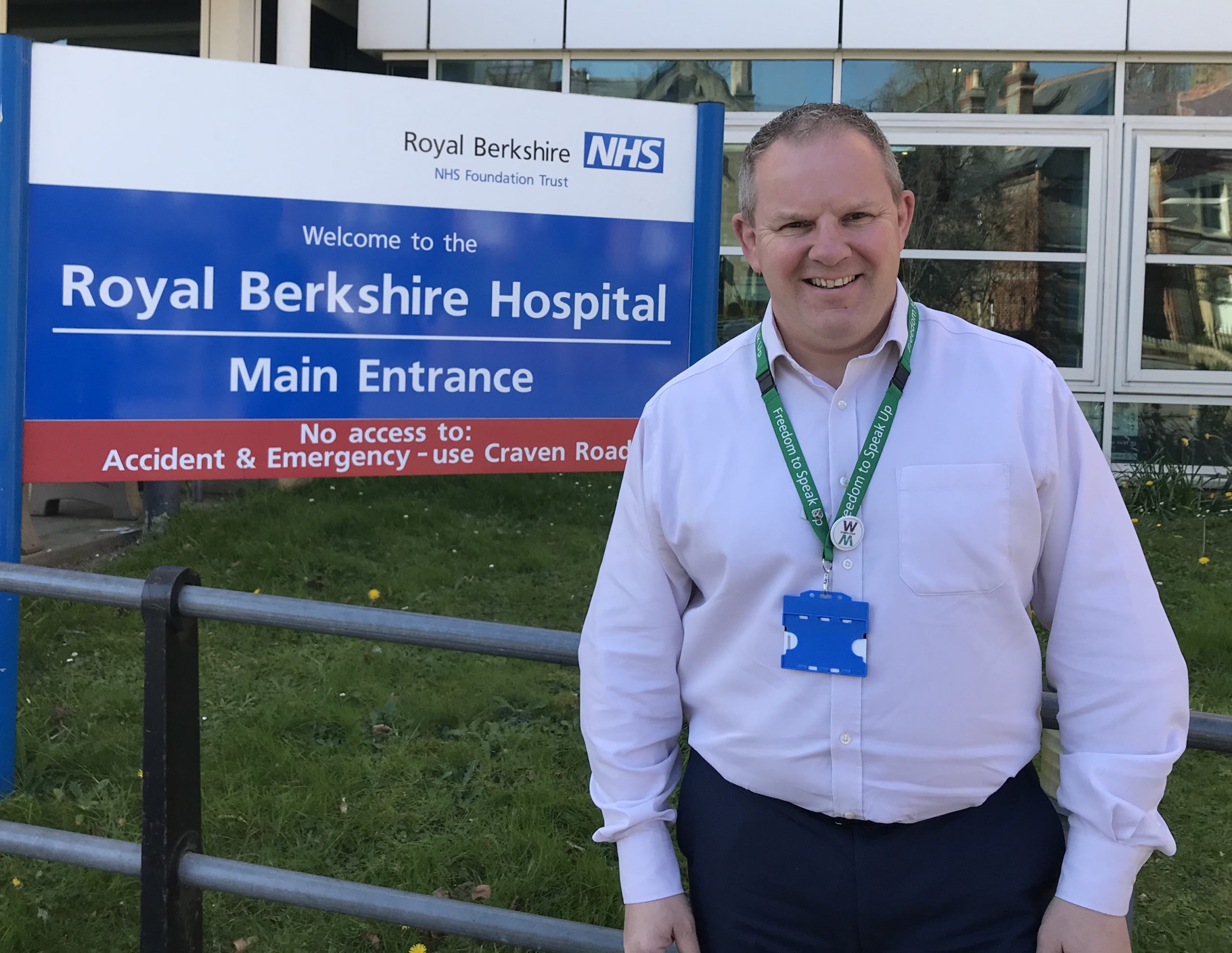 Picture of Steve McManus Chief Executive of Royal Berkshire Hospital outside main entrance of the hospital